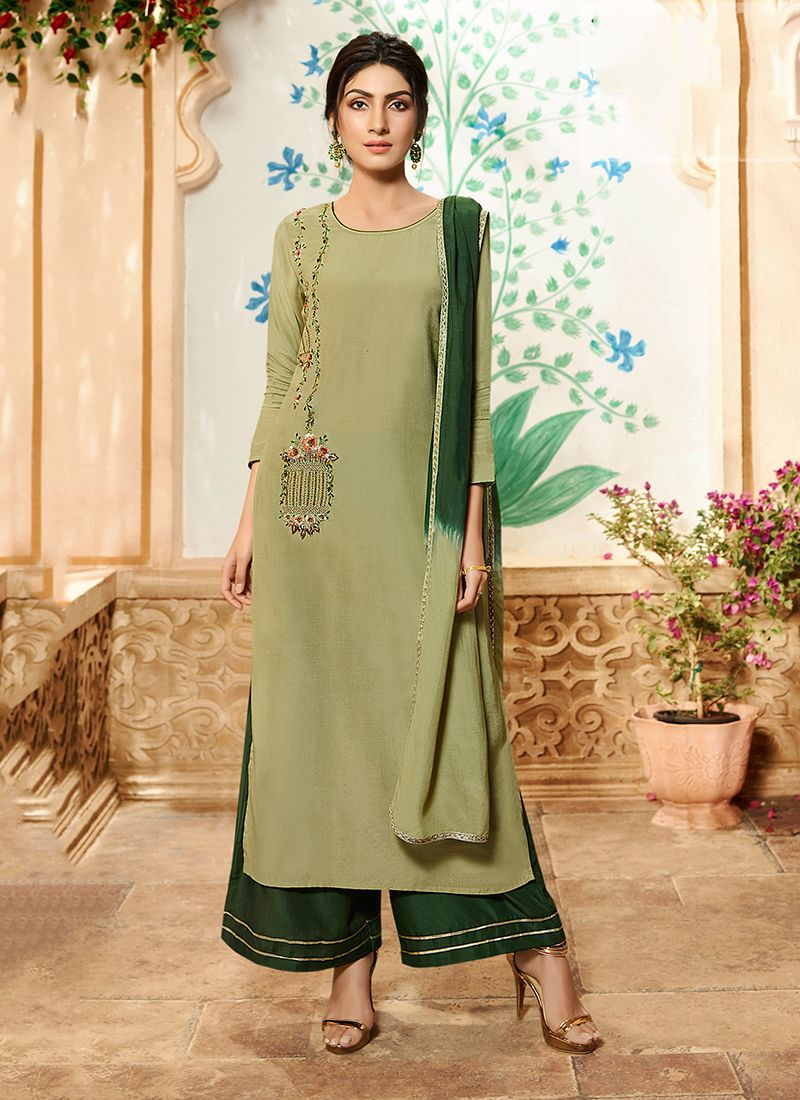 Embroidered Palazzo Designer Suit