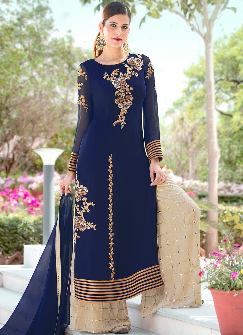 Embroidered Party Palazzo Salwar Suit