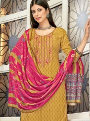 Embroidered Pashmina Mustard Designer Palazzo Suit