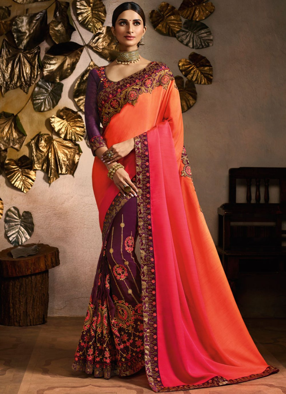 Embroidered Peach and Pink Fancy Fabric Designer Half N Half Saree