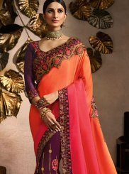 Embroidered Peach and Pink Fancy Fabric Designer Half N Half Saree