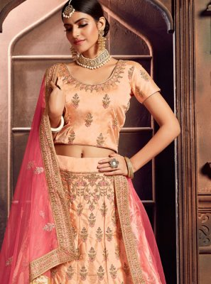 Embroidered Peach Art Silk A Line Lehenga Choli