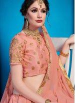 Embroidered Peach Art Silk Designer Lehenga Choli