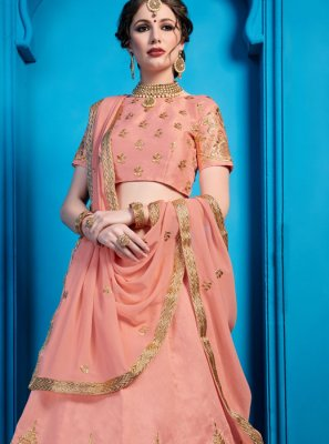 Embroidered Peach Art Silk Designer Lehenga Choli