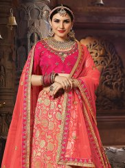 Embroidered Peach Banarasi Silk Designer Lehenga Choli