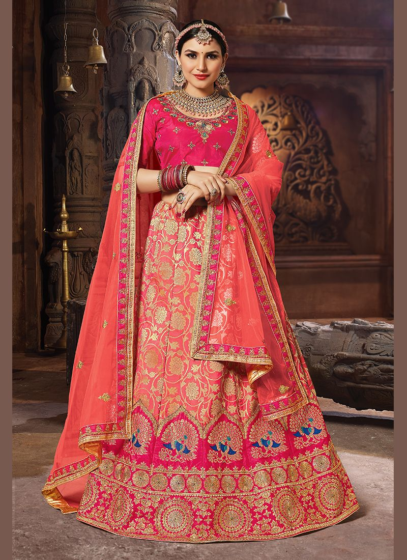 Embroidered Peach Banarasi Silk Designer Lehenga Choli