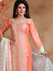 Embroidered Peach Chanderi Designer Straight Suit
