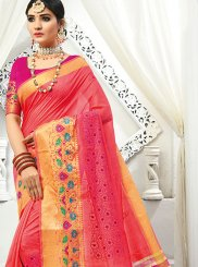 Embroidered Peach Chinon Traditional Saree