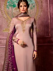 Embroidered Peach Churidar Suit
