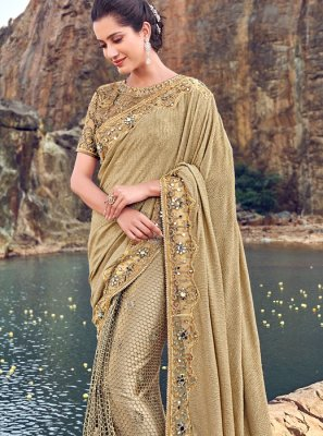 Embroidered Peach Classic Designer Saree