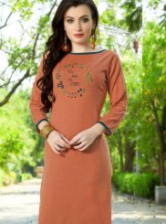 Embroidered Peach Cotton Party Wear Kurti
