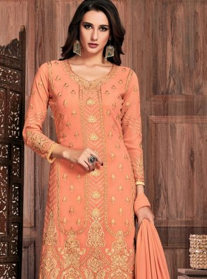 Embroidered Peach Pant Style Suit