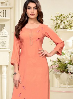 Embroidered Peach Party Wear Kurti