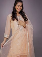 Embroidered Peach Readymade Suit