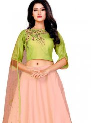 Embroidered Peach Silk Designer A Line Lehenga Choli