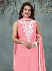 Embroidered Pink Art Silk Salwar Suit