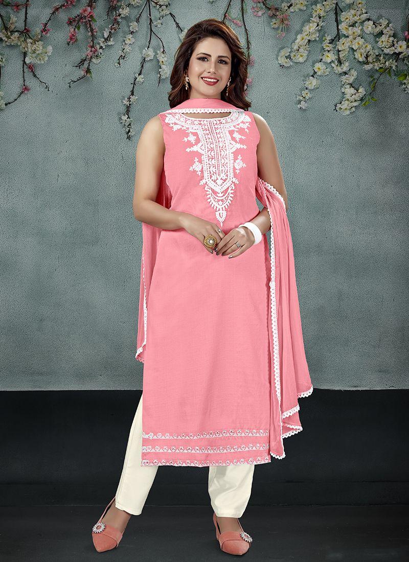 Embroidered Pink Art Silk Salwar Suit