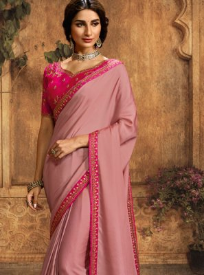 Embroidered Pink Art Silk Traditional Saree