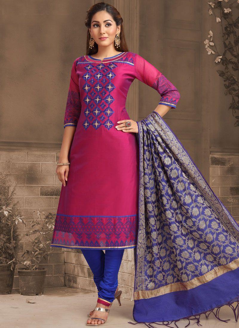 Embroidered Pink Banarasi Silk Churidar Salwar Suit