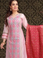 Embroidered Pink Churidar Designer Suit