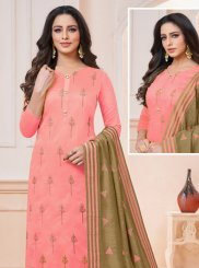 Embroidered Pink Churidar Salwar Kameez
