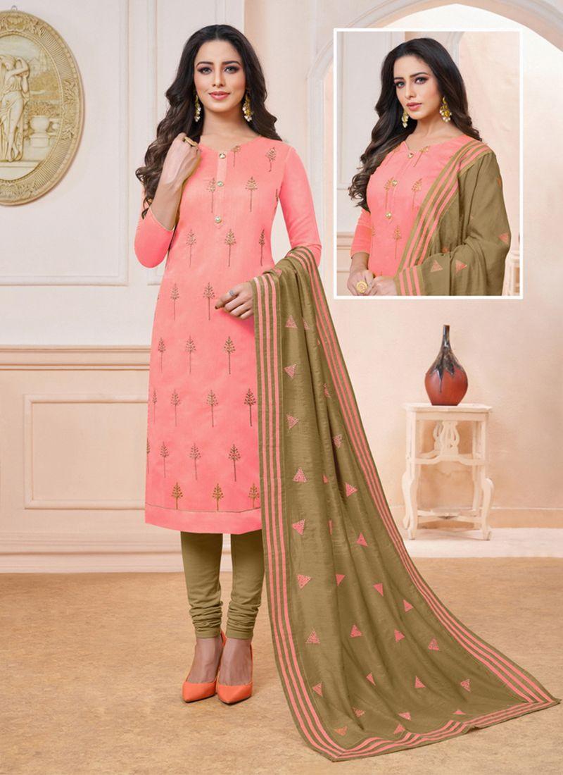 Embroidered Pink Churidar Salwar Kameez