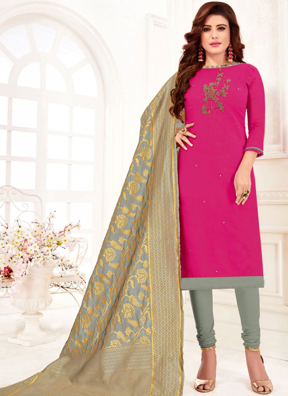 Embroidered Pink Churidar Suit