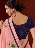 Embroidered Pink Crepe Silk Traditional Designer Saree