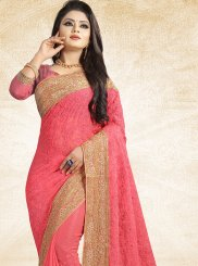 Embroidered Pink Faux Chiffon Saree