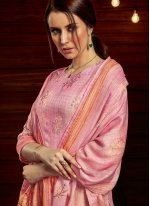 Embroidered Pink Jacquard Designer Palazzo Suit