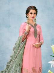 Embroidered Pink Jacquard Silk Designer Salwar Suit