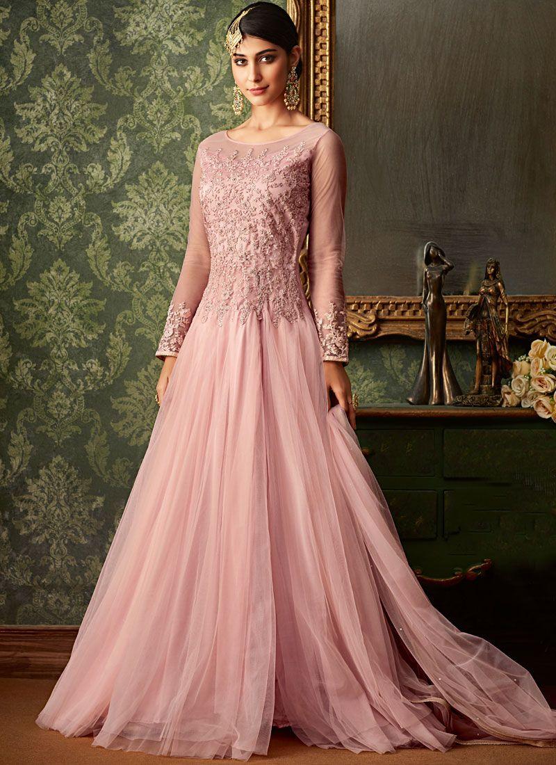 Embroidered Pink Net Designer Salwar Suit