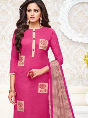 Embroidered Pink Salwar Suit