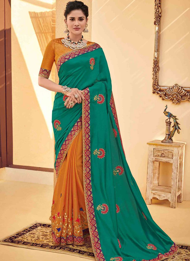 Embroidered Poly Silk Classic Saree in Green