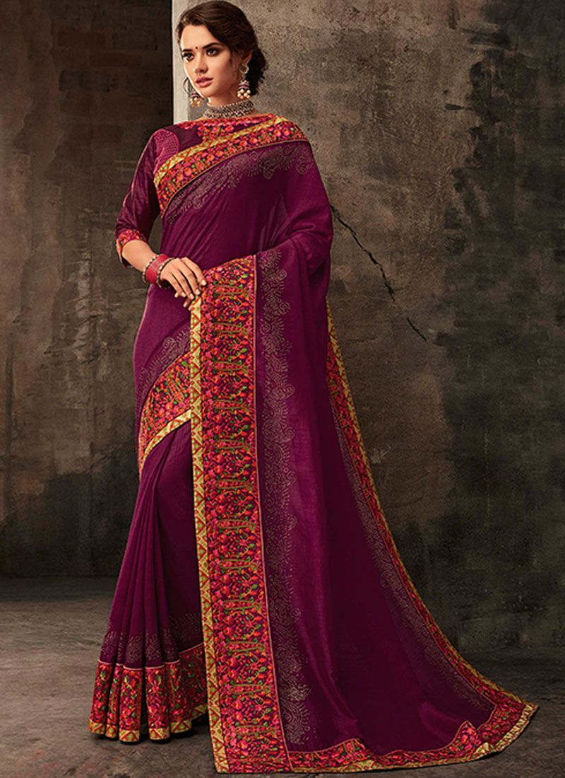 Embroidered Poly Silk Classic Saree in Purple