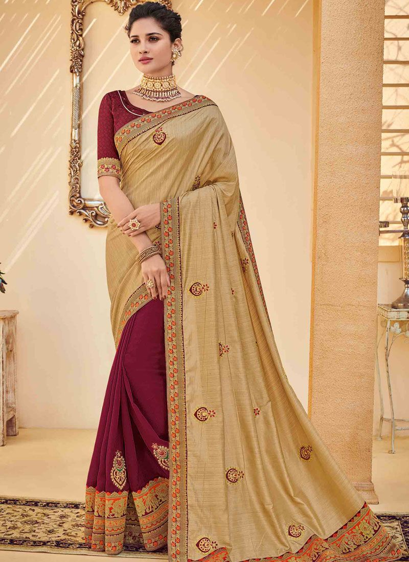 Embroidered Poly Silk Gold Traditional Saree