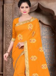 Embroidered Poly Silk Mustard Traditional Designer Saree