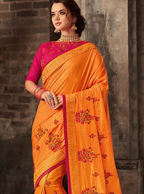 Embroidered Poly Silk Orange Classic Saree