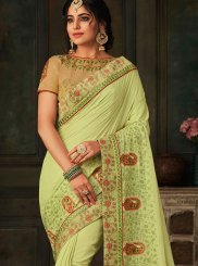 Embroidered Poly Silk Traditional Saree in Green