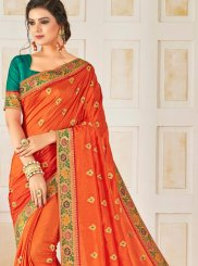 Embroidered Poly Silk Traditional Saree in Orange