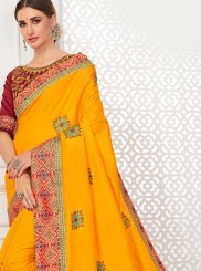 Embroidered Poly Silk Traditional Saree in Yellow