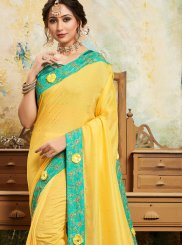 Embroidered Poly Silk Trendy Saree in Yellow