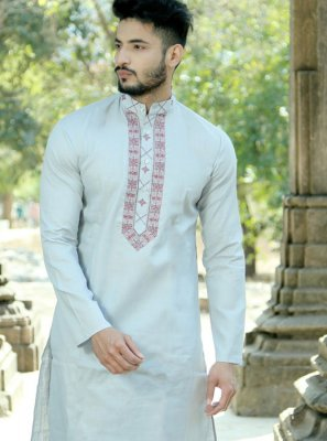 Embroidered Polyester Kurta Pyjama in Grey
