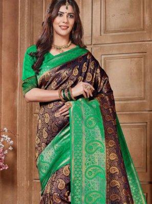 Embroidered Purple Designer Traditional Saree