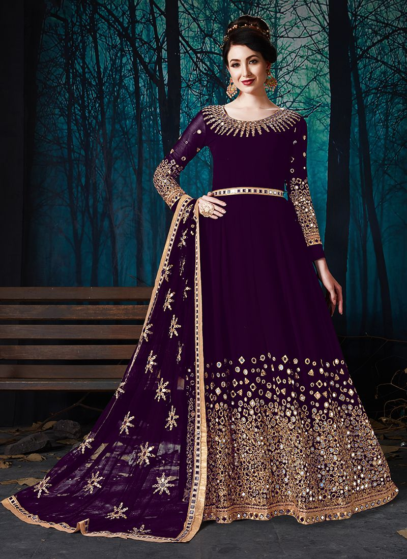 Embroidered Purple Faux Georgette Trendy Anarkali Salwar Suit