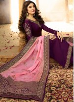 Embroidered Purple Kritika Kamra Churidar Designer Suit