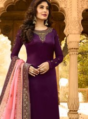 Embroidered Purple Kritika Kamra Churidar Designer Suit