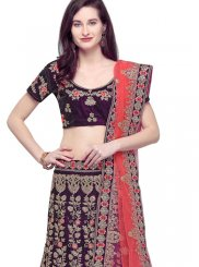 Embroidered Purple Velvet Trendy Lehenga Choli