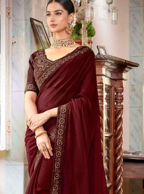 Embroidered Rangoli Maroon Classic Saree