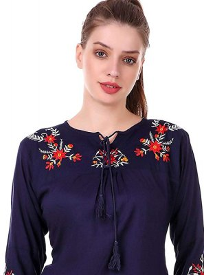 Embroidered Rayon Casual Kurti in Blue